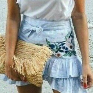 Zara Striped Floral Embroidered Ruffle Wra…